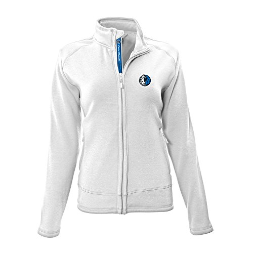 NBA Dallas Mavericks Adult Women Tranquil Team Script Full Zip,Medium,White