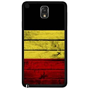 Belgium Flag Black Gold and Red Tricolor Bands Wood Pattern Hard Snap on Phone Case Cover Samsung Galaxy Note 3 N9000