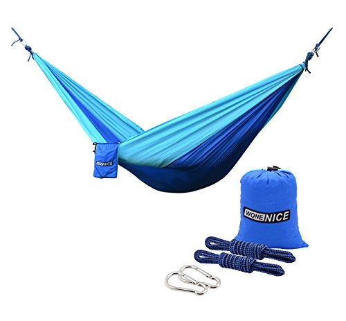 Price comparison product image WoneNice Camping Hammocks, Portable Lightweight Nylon Parachute Multifunctional Hammock for Backpacking, Travel, Beach, Yard. 500 LB Capacity (Blue/Sky Blue)