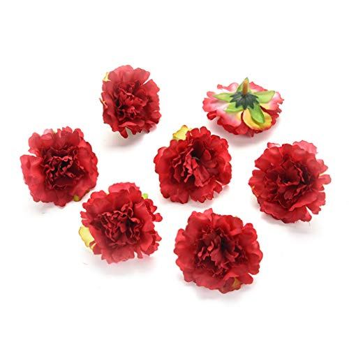 Fake Flower Heads in Bulk Wholesale for Crafts Outdoor Artificial Carnation Flower Head Handmade Festival Decor Home Decoration DIY Event Party Supplies Wreaths 30pcs/lot 5cm ()