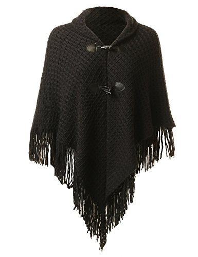 Fifth Parallel Threads FPT Women's Cape Sweater Toggle Poncho Black OS (Turtleneck Poncho)