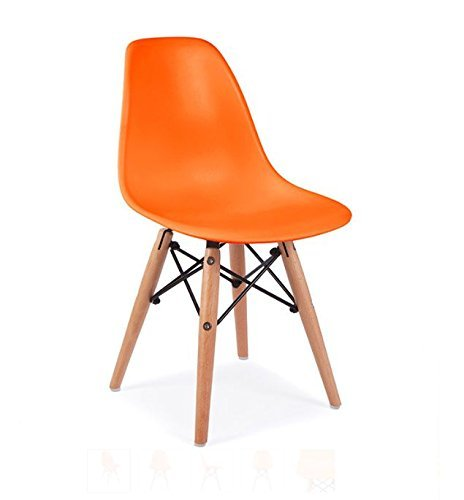 ModHaus Mid Century Modern Children Kids Orange DSW Chair with Wood Dowel Base Inpired by Eames Design Matte Finish For Sale