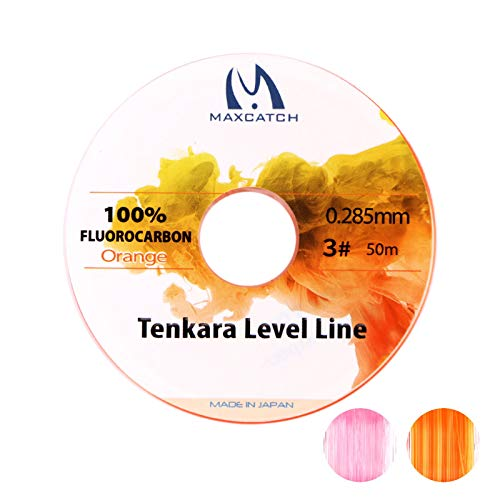 M MAXIMUMCATCH Maxcatch Tenkara Level Line, Pink Fluorocarbon Fly Fishing Line (Orange, 50m #3)