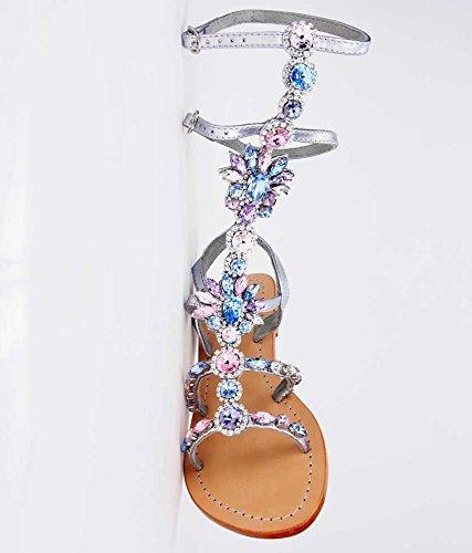 Genuine Leather Jeweled Shoes Pasha, ORONSAY Gladiator (11)