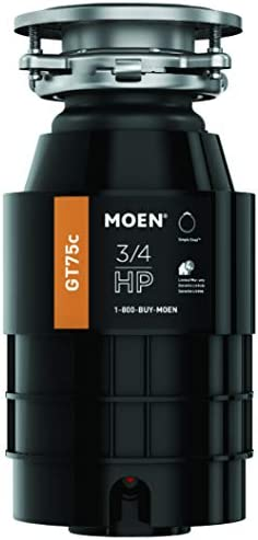 Moen GT75C 3 4 Horsepower Continuous Feed Garbage Disposal featuring Fast Track Technology, Power Cord Included