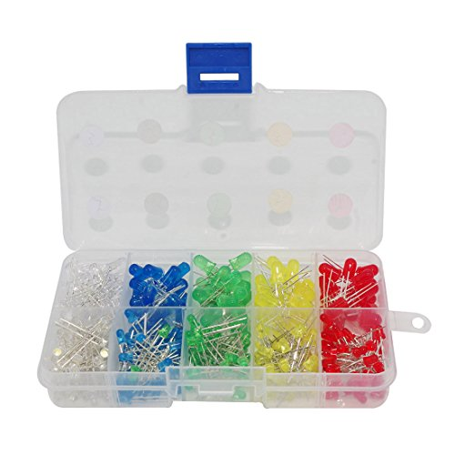 Haobase 300pcs 3mm 5mm Assorted Color 2pin Diffused LED Light Emitting Diodes Electronic Parts with 5 (Led Assortment)