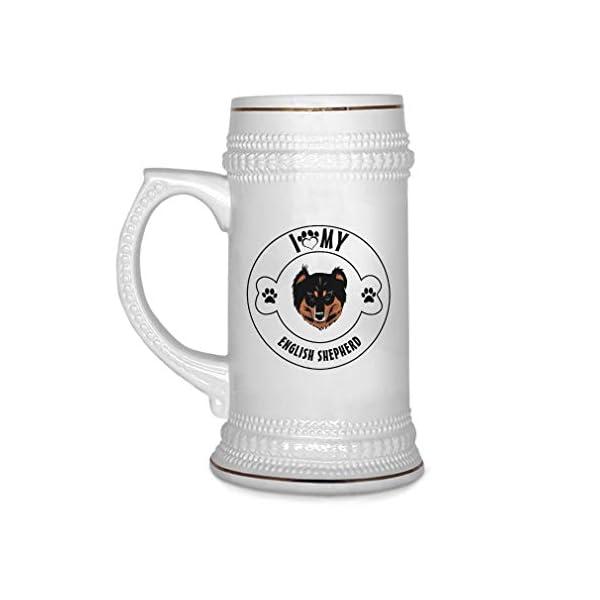 Custom Beer Mug I Love Paw My English Shepherd Dog Ceramic Drinking Glasses Beer Gifts White 18 OZ Design Only 1