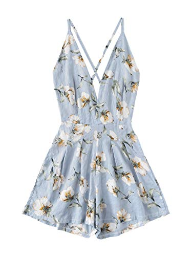 (SweatyRocks Women's Sexy V Neck Criss Cross Black Floral Print Short Romper Jumpsuit Blue S)