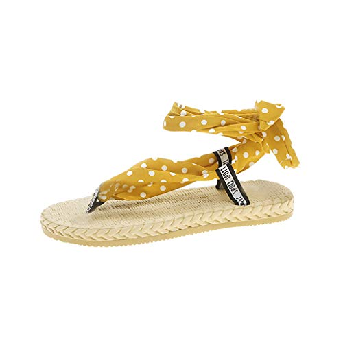 PAQOZ Women's Sandals, Fashion Summer Spots Strap Party Flat-Soled Round Toe Shoes(Yellow,37)