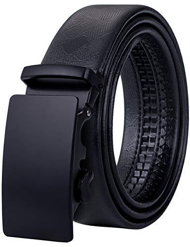 - Mens Business Belt,Black Sliding Buckle Alloy Genuine Leather Belt 59'' Long,Gift Set for Men
