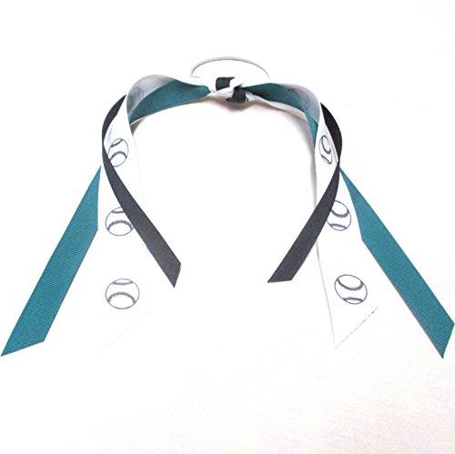 Softball Baseball Ribbons - Made in the USA, Avail in Many Colors, Teal/Black (Bows Baseball)