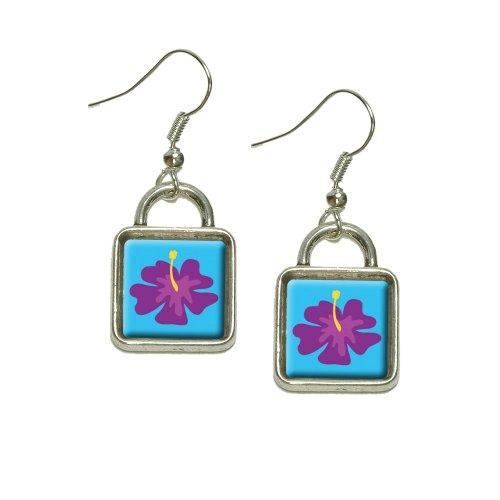 (Tropical Flower Hibiscus Purple Dangling Drop Square Charm Earrings)