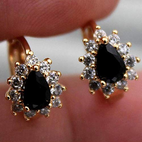Yunzee Women's Crystal Wedding Teardrop Stud Earrings Oval Stud Earrings,Black ()