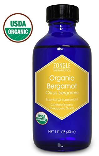Zongle USDA Certified Organic Bergamot Essential Oil, Italy, Safe to Ingest, Citrus Bergamia, 1 oz