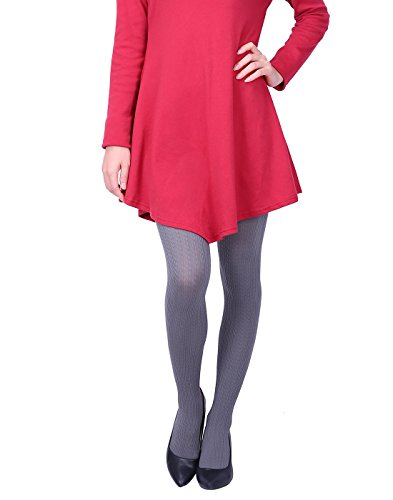 HDE Women's Knit Winter Tights Herringbone Textured Opaque Spandex Stockings (Dark (Textured Stretch Knit)
