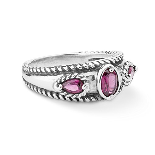 Carolyn Pollack Sterling Silver Rhodolite Garnet Band Ring,  size  8 (Rhodolite Garnet Ring Birthstone)