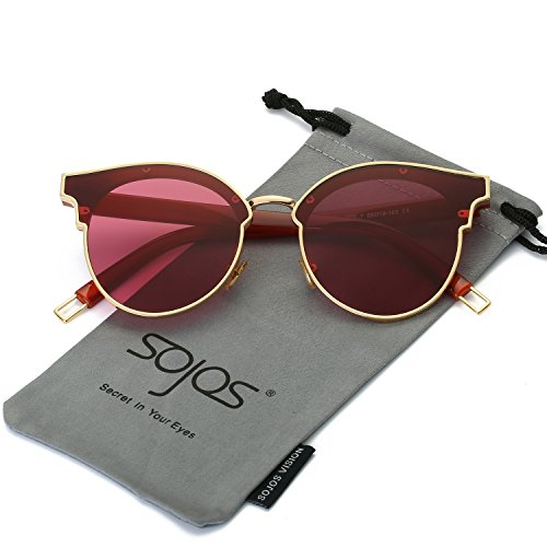 SojoS Fashion Designer Cateye Women Sunglasses Oversized Shades Flat Lens SJ1055 With Gold Frame/Clear Burgundy - Fashion Women Shades For