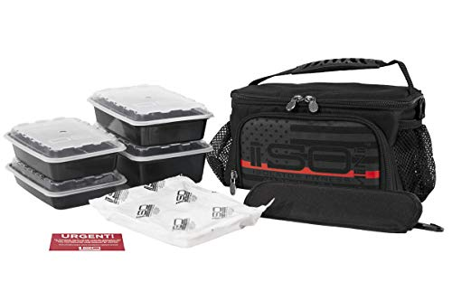 Isolator Fitness 2 Meal ISOMINI Meal Prep Management Insulated Lunch Bag Cooler With 4 Stackable Meal Prep Containers, ISOBRICK, and Shoulder Strap – MADE IN USA (Thin Red Line)