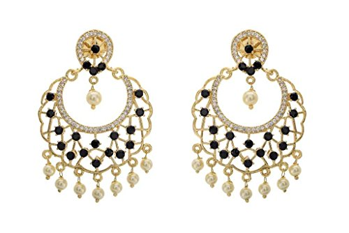 Pearls Cart Women's Antique Golden Stone Studded Traditional Chand Bali Jhumka/Earrings/Hangings Black