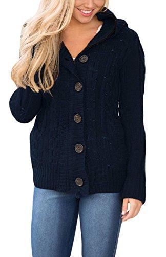 Asvivid Women's Plus Size Zip Up Sherpa Lined Fleece Hooded Juniors Knit Sweaters Jackets Medium Navy