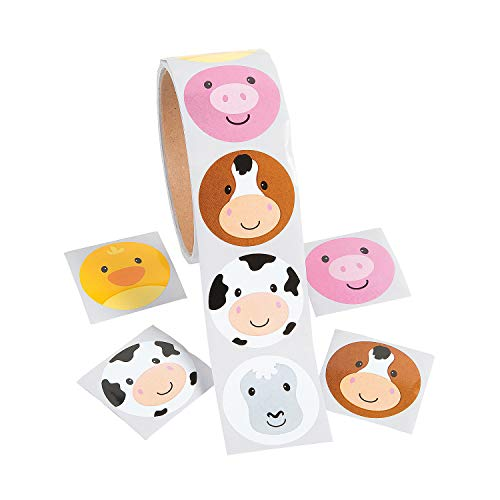 Farm Animal Stickers (Fun Express Farm FACE Animal Stickers - ROLL of)
