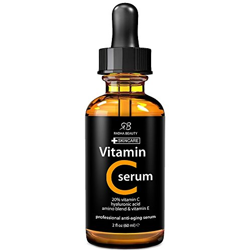 Radha Beauty Vitamin C Serum for Face, 2 fl. oz - 20% organic Vit C + E + Hyaluronic Acid (Vit C Face Cream compare prices)