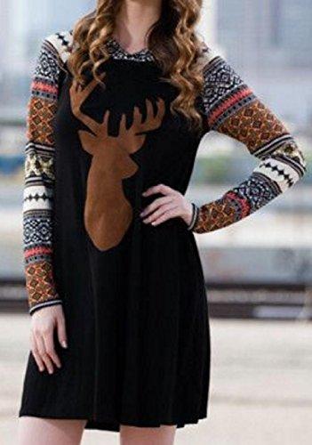 Confortables Robes De Loisirs Imprimé Floral Noël Femmes Couture De Milu Noir 3