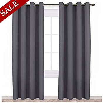 NICETOWN Blackout Curtains Panels for Bedroom - 3 Pass Microfiber Noise Reducing Thermal Insulated Solid Ring Top Blackout Window Drapes (2 Panels, 52 x 84 Inch, Gray)