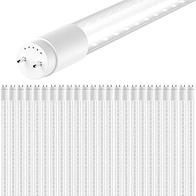 Sunco Lighting 24 Pack 4FT T8 LED Tube, 15W=32W Fluorescent, Clear Cover, 5000K Daylight, Single Ended Power (SEP), Ballast Bypass, Commercial Grade - ETL & DLC Listed