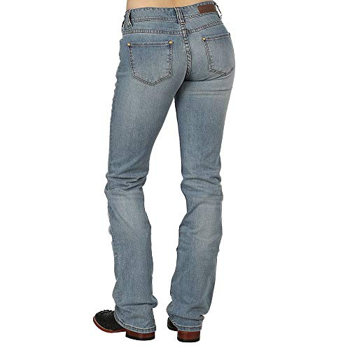 Rock N Roll Cowgirl Womens Cowgirl Embroidered Feather Jeans 27x38 Denim