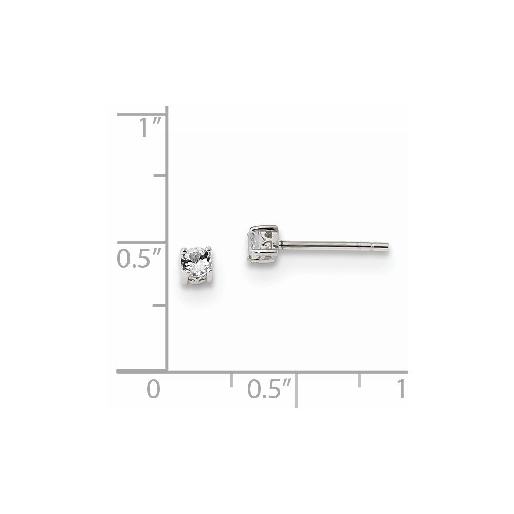 925 Sterling Silver 3mm Round White Topaz Post Stud Earrings Set Birthstone April Prong Fine Jewelry Gifts For Women For Her