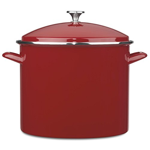 20 quart stock pot red - 6