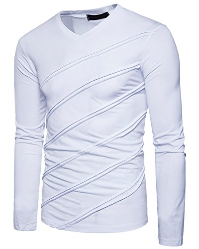 Men's Casual Long Sleeve Striped T-Shirt, Winter Fashion Cotton Solid V Neck Tee White Large