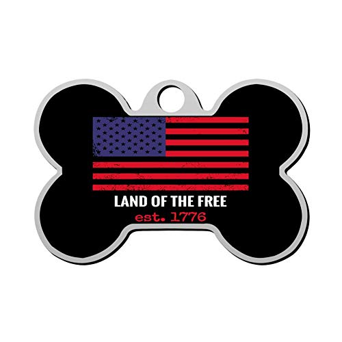 (YTWISS 63 Custom The Land of The Free American Flag Patriotic Pet ID Tags Personalized 3D Print Front and Back Bone Shape Dog Tags & Cat Tags)