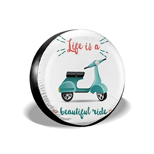 GULTMEE Tire Cover Tire Cover Wheel Covers,Life is A Beautiful Ride Quote with A Scooter in Blue and Hearts,for SUV Truck Camper Travel Trailer Accessories(14,15,16,17 Inch) 14