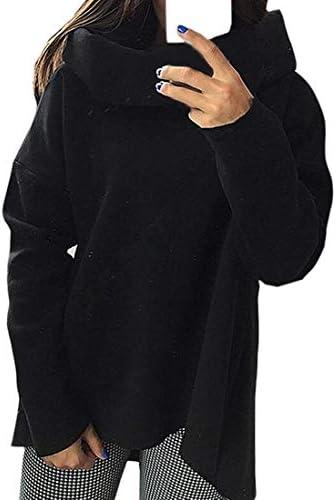 レディーススウェットシャツ 長袖カウルネックプルオーバー 厚いスウェットシャツ Black US X-Small