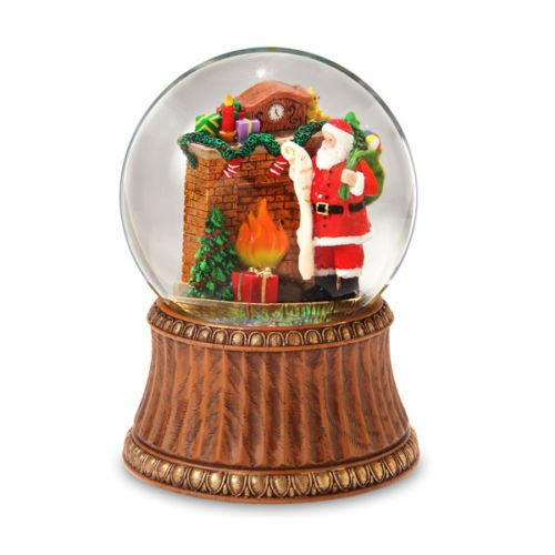 Holiday Santa by Fireplace 120mm Water Globe by The San Francisco Music Box (Santa Water)