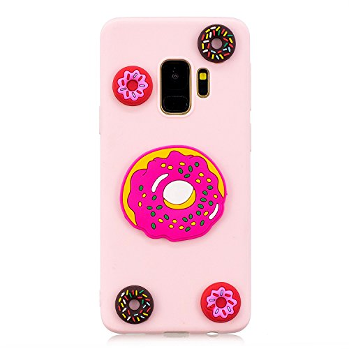 Aearl Candy Case For Samsung Galaxy S9 Plus,Cute 3D Cartoon Case For Samsung S9 Plus,Funny Adorable Creative Three Dimensional Design Pink Back Shell Soft Silicone Rubber Bumper Cover-Colorful Donut ()