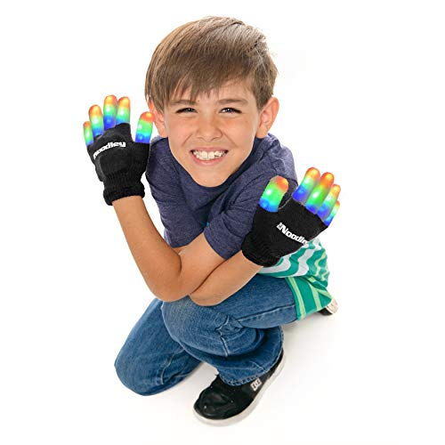 The Noodley Children LED Finger Light Gloves Boys Girls Kids Toys Age 4 5 6 7 Year Old Kid Camping Outdoor Games Glow in The Dark Party Favor Sensory Gifts Flash Costume Accessory Toy (Black, Small)
