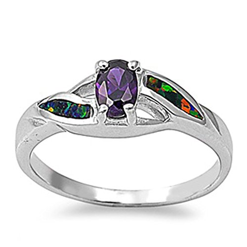 Simulated Amethyst Oval Criss Cross Cutout Ring New 925 Sterling Silver Band Size (Cross Amethyst Sterling Silver Bands)