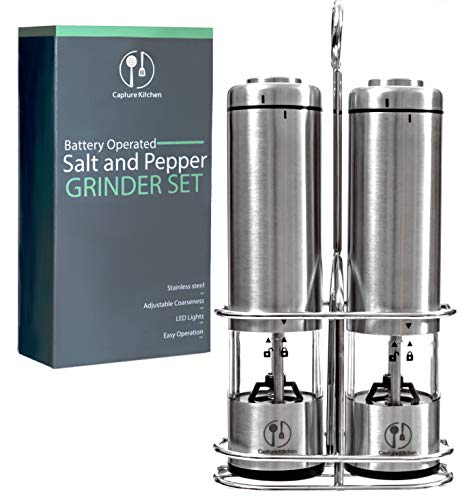 Electric Salt and Pepper Grinder Set of 2 By Capture Kitchen - Battery Operated Stainless Steel Refillable Mill Combo - Sealable Shaker with Unique Metallic Stand and Adjustable Ceramic Grinders