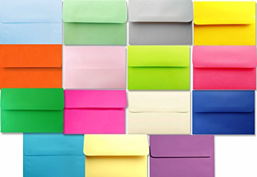 Assorted Multi Color 25 Pack A2 Envelopes for 4-1/8