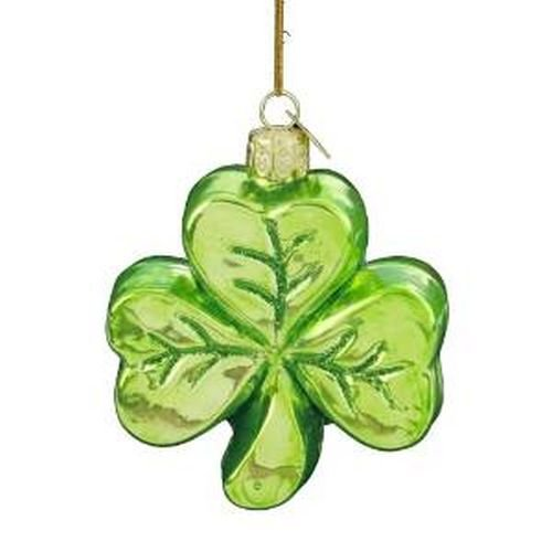 Noble Gems Kurt Adler 3-1/4-Inch Glass Shamrock Ornament ()