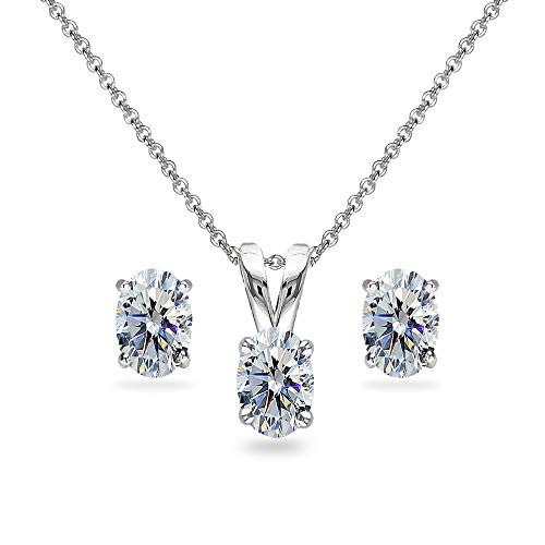 Sterling Silver Clear 6x4mm Oval Solitaire Necklace & Stud Earrings Set Made with Swarovski -