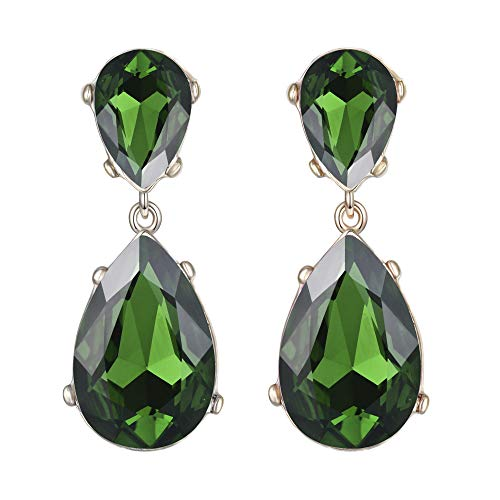 EVER FAITH Gold-Tone Teardrop Dangle Earrings Emerald Color Austrian Crystal - 2.5 Inch Long ()