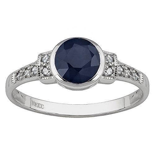 10k White Gold Vintage Style Genuine Round Sapphire and Diamond Ring ()