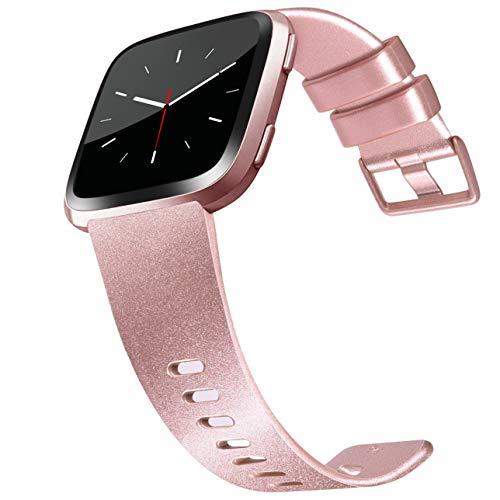 Tobfit Compatible Bands Replacement for Fitbit Versa, Silicone Wristbands Versa Accessories for Women and Men (01 Shiny Rose Gold, Large)