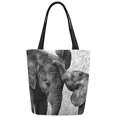 InterestPrint Black and White Elephant Canvas Tote Bag Shoulder Handbag for Women Girls