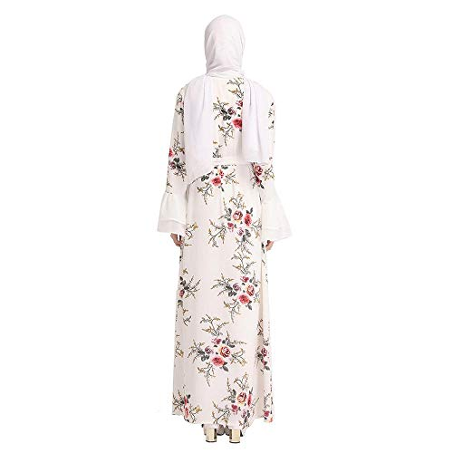 Vjgoal Larga Musulmán Vestido Largo Moda Mujer Túnica Verano Impresión Blanco Suelta Cardigan Manga Casual 4r4q1wx
