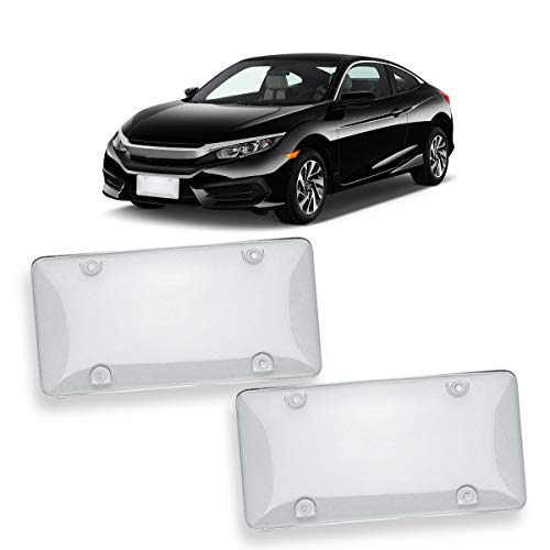VaygWay Unbreakable Clear License Plat Cover- Bubble Design License Plate Shields-2Pk Fits US Standard Plates- Novelty Heavy Duty Front and Back